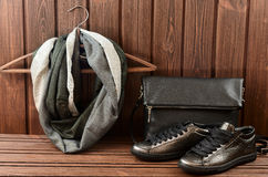 Leather upper metallic womens shoes, scarf and black leather bag Stock Image