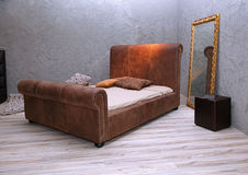 Leather vintage bed stock photography