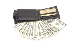 Leather wallet. With some dollars inside Stock Photos