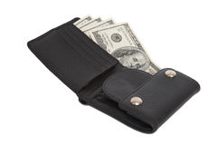 Leather wallet. With some dollars inside Stock Photography