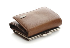 Leather wallet. On a white background Stock Images