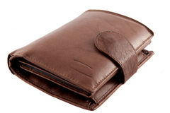Leather wallet. Brown leather wallet isolated on white Royalty Free Stock Images