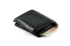 Leather wallet and bank note Royalty Free Stock Photos
