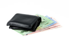Leather wallet and bank note Stock Photos