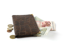 Leather wallet with banknotes and coins Stock Photography