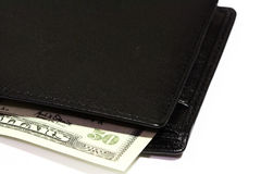 Leather Wallet and Cash Stock Images
