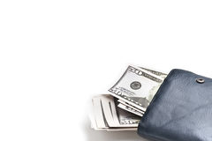 Leather wallet with cash. Wallet stuffed with United States Dollars Royalty Free Stock Images