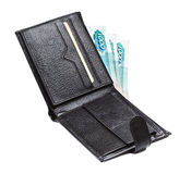 Leather Wallet With Cash Stock Image