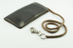 Leather Wallet Chain on white background.  Royalty Free Stock Photo