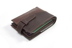 Leather wallet closed. Over white background Royalty Free Stock Photo