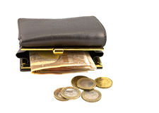 Leather wallet with coins and banknotes Stock Image