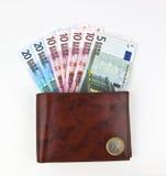 Leather wallet containing euros Stock Photos