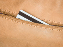 Leather wallet with credit card Stock Image