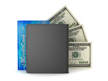 Leather wallet, credit card and dollar bills Royalty Free Stock Photography