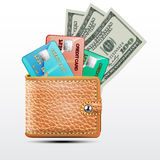 Leather wallet with credit cards, dollars USA . royalty free illustration