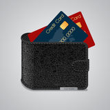 Leather wallet with credit cards inside. Vector Stock Photo