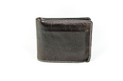 Leather wallet dark brown leather on a white background Stock Photography