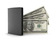 Leather wallet and dollar bills Stock Images