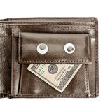 Leather wallet with dollar isolated on white Stock Photos