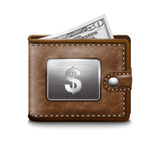 Leather wallet  with dollar USA. Vector image Royalty Free Stock Photo