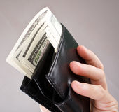 Leather wallet with a dollars Royalty Free Stock Photos