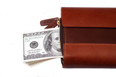 Leather wallet with dollars Stock Photos
