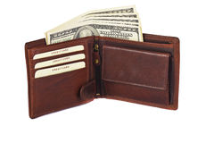 Leather wallet with dollars Stock Photography