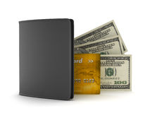 Leather wallet, dollars and credit card Royalty Free Stock Images