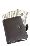 Leather wallet with dollars inside Stock Images