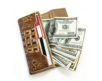 Leather wallet with dollars on white Royalty Free Stock Photography