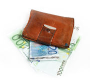 Leather wallet with euro banknotes. On white background Stock Photography