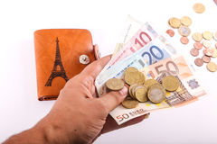 Leather wallet and euro Stock Image
