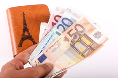 Leather wallet and euro Royalty Free Stock Images