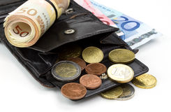 Leather wallet with euro money Royalty Free Stock Image