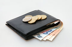Leather wallet with Euro notes and coins Stock Photos