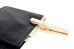 Leather wallet with euro notes keeped with a pin Royalty Free Stock Photography