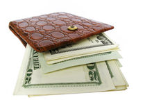 Leather Wallet Full Of Dollar Bills. Isolated On White. $20, $50 bank-notes stock photography