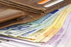 Leather wallet full of Euro banknotes Stock Image