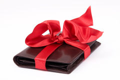 Leather wallet gift Stock Photography