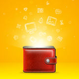Leather Wallet with Glowing Icons Royalty Free Stock Image