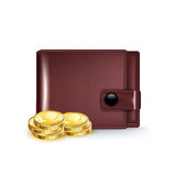 Leather wallet with golden coins  on white Stock Photo