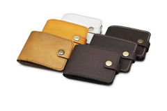 Leather wallet isolated Stock Photography