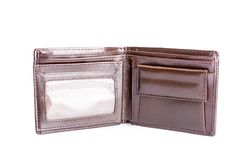 Leather wallet isolated on white Royalty Free Stock Images