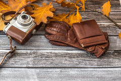Leather wallet and luxurious gloves with camera on vintage backg Stock Photography