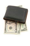 Leather wallet with money Stock Photography