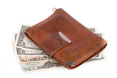Leather wallet with money Royalty Free Stock Photos