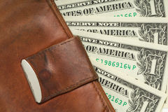 Leather wallet with money Stock Photos
