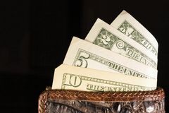 Leather wallet with money. Stock Photo