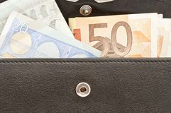 Leather wallet with money Stock Image