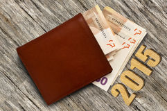 Leather wallet with money. Leather brown leather wallet with money, some banknotes in brown purse, open purse with paper money Royalty Free Stock Image